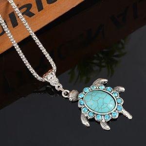 Jewelry - 'Coastal' Turquoise Rhinestone Turtle Necklace